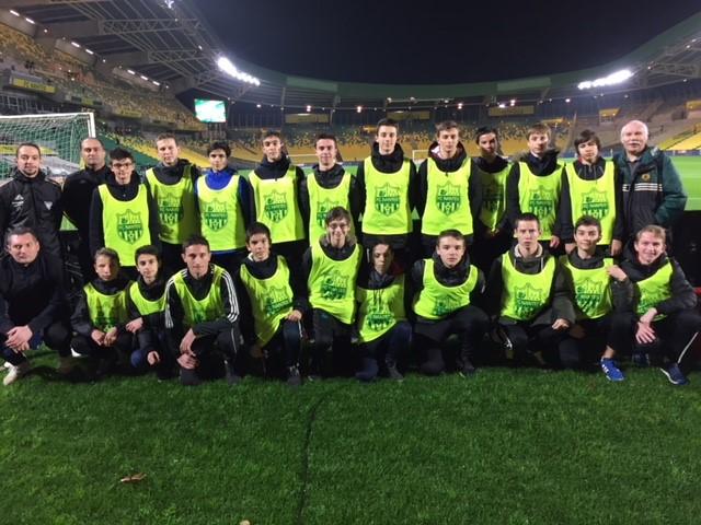 Nos U15 lors du match Nantes/Marseille